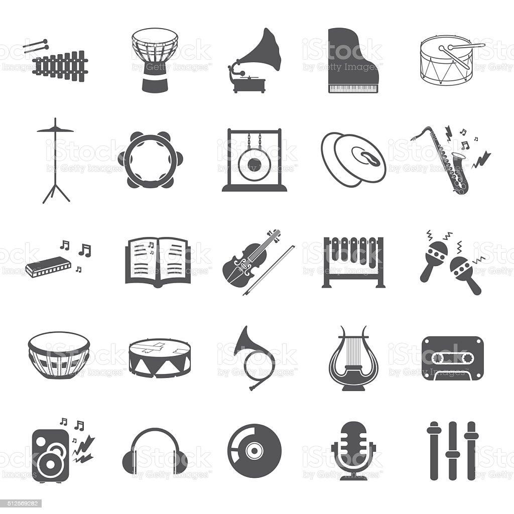 Musikinstrumente Satz 25 Schwarz Einfache Symbole Musik ...