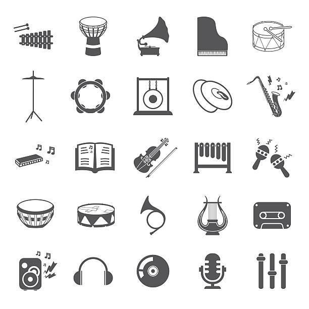 instrumenty muzyczne zestaw 25 czarne proste ikony. sprzęt ikony muzyki. - talerz perkusyjny stock illustrations