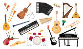 istock Musical instruments set. Folk classical musical equipment violin, bagpipe harp synthesizer. 1224316651