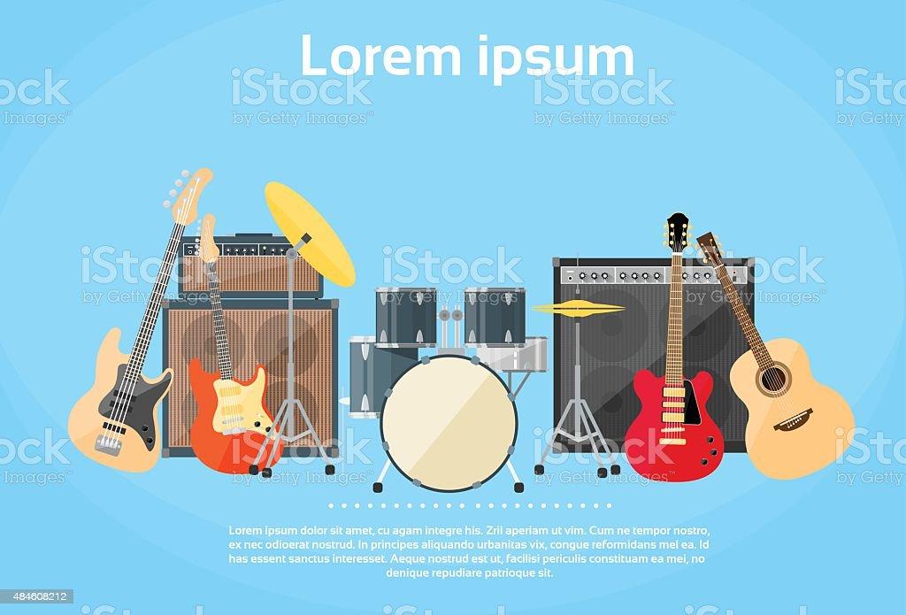楽器セットギタードラムロックバンド ベクターアートイラスト
