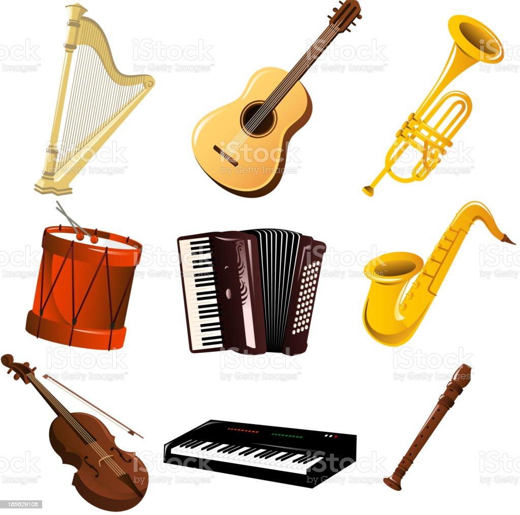 Instrumenty muzyczne zestaw - Grafika wektorowa royalty-free (Instrument muzyczny)