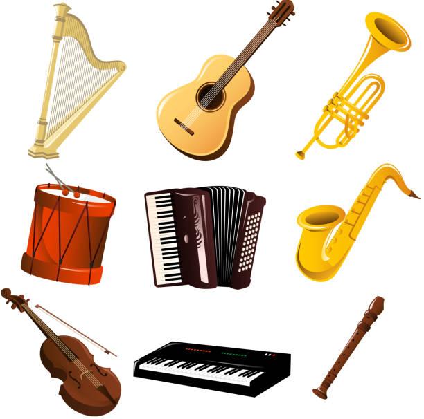 instrumenty muzyczne zestaw - harmonia instrument stock illustrations