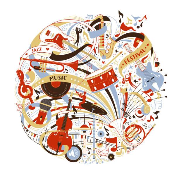 musical instruments shop assortment flat vector illustration - talerz perkusyjny stock illustrations