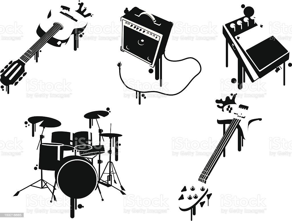 Musical Instruments Stencil vector art illustration