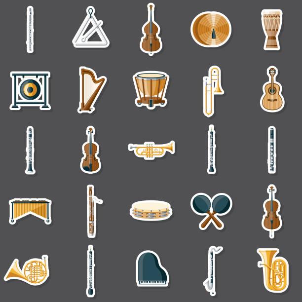 stockillustraties, clipart, cartoons en iconen met muziekinstrumenten sticker set - slaginstrument