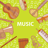 Musical Instruments Composition. Template in Hand Drawn Style for Fliers Prints Cards Banners. Vector Illustration
