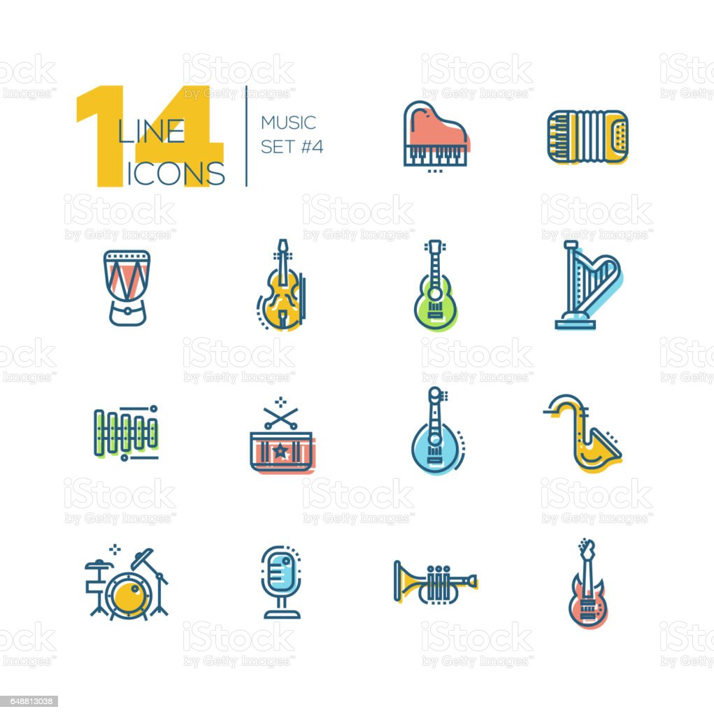 Musical Instruments - thick line icons set vector art illustration