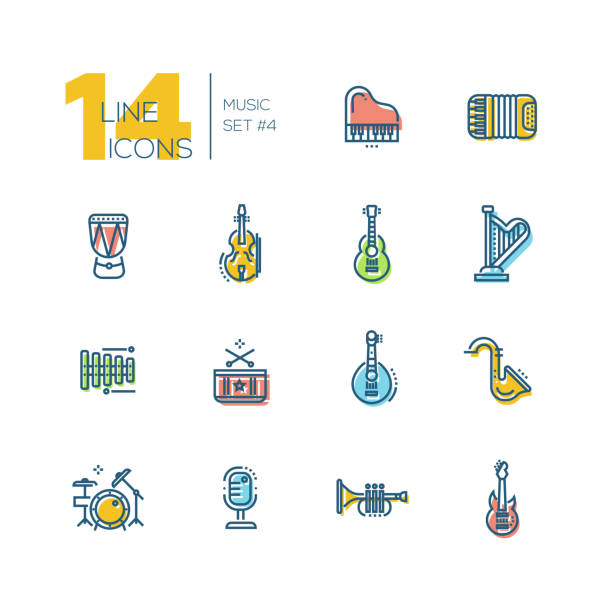 musical instruments - thick line icons set - akordeon instrument stock illustrations
