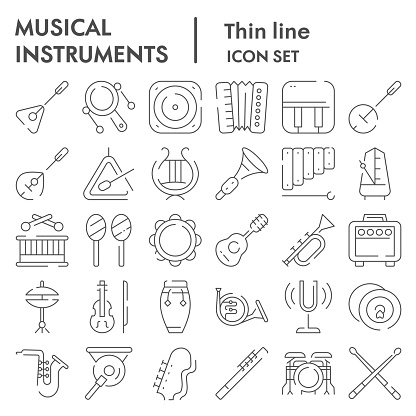 Musical instruments thin line icon set, sound instruments symbols collection, vector sketches, symbol illustrations, music equipment signs linear pictograms package isolated on white background, eps 10.