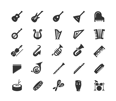 Musical instruments vector icon set in glyph style
