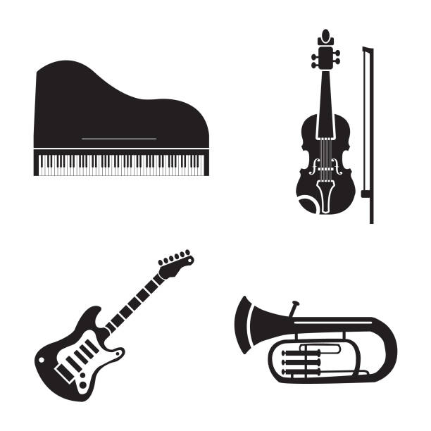 musical instruments vector icon set, piano, violin, electric guitar and trumpet - waltornista stock illustrations