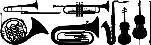 musical instruments - waltornista stock illustrations
