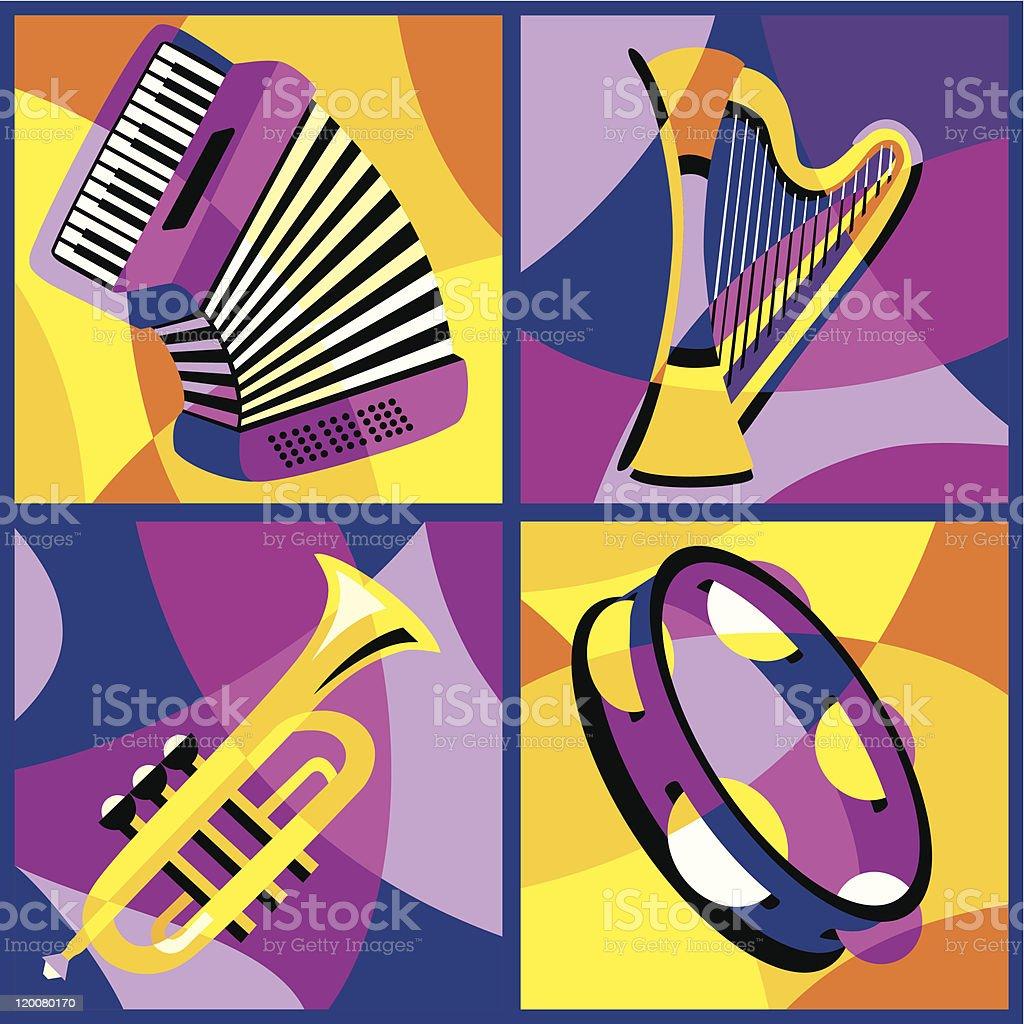 musical instruments (part 2) vector art illustration