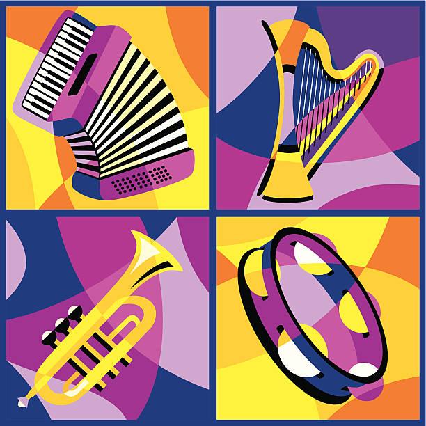 ilustrações, clipart, desenhos animados e ícones de instrumentos musicais (parte 2 - pandeiro