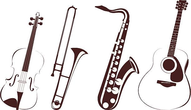 ilustrações de stock, clip art, desenhos animados e ícones de instrumentos musicais - saxofone