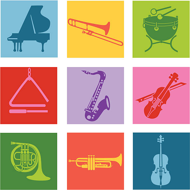 instrumenty muzyczne - muzyka poważna stock illustrations