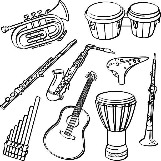 bildbanksillustrationer, clip art samt tecknat material och ikoner med musical instruments - flöjt