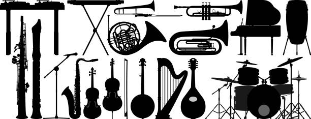 stockillustraties, clipart, cartoons en iconen met muziekinstrumenten - blaasinstrument