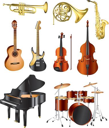Instrumenty Muzyczne Wektor Zestaw - Stockowe grafiki wektorowe i więcej obrazów Bęben