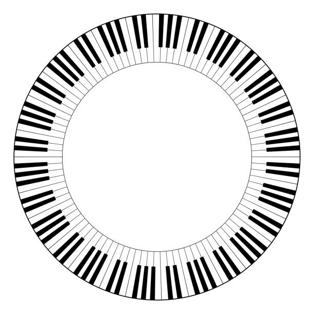 Musical keyboard circle frame vector art illustration