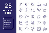 Musical Vector Style Editable Stroke Line Icon Set
