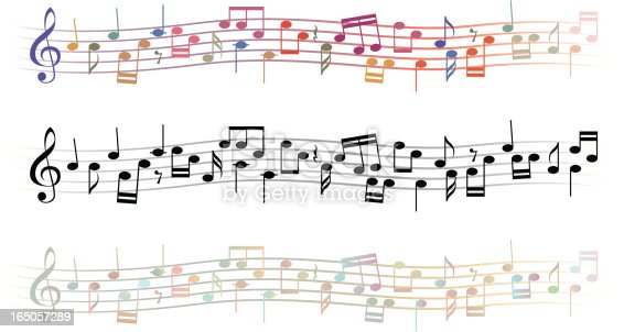 3 lines of musical notation in 3 different colour variations.See my Music lightbox for more music related files-