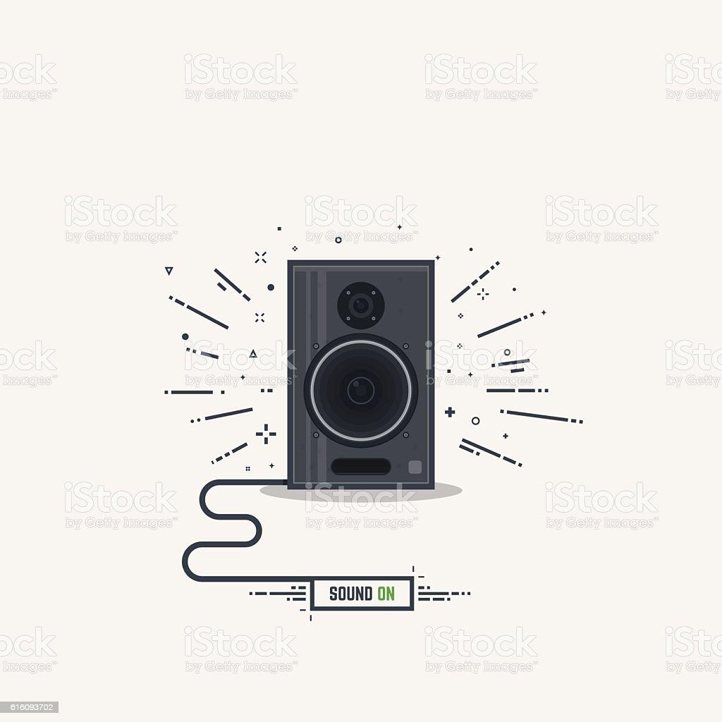 Musical loud speaker vector art illustration