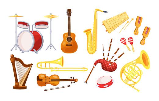 Musical metal wood acoustic instruments set: violin, tambourine, harp, trombone, bagpipe, saxophone, accordion, guitar, drum, tambourine, bagpipes, maracas, rumba