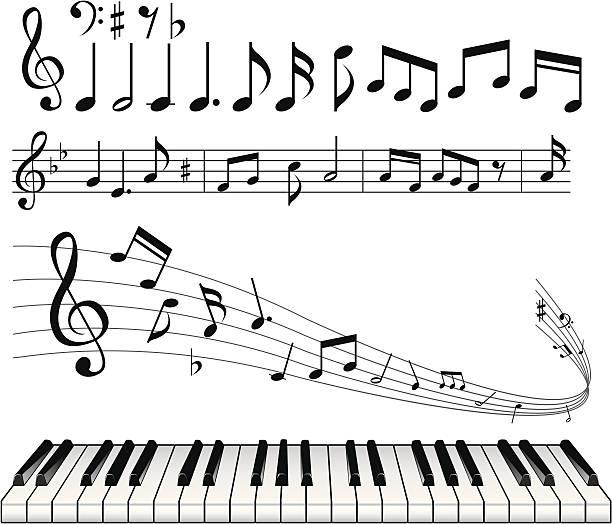 note abstrakter hintergrund - musiksymbole stock-grafiken, -clipart, -cartoons und -symbole