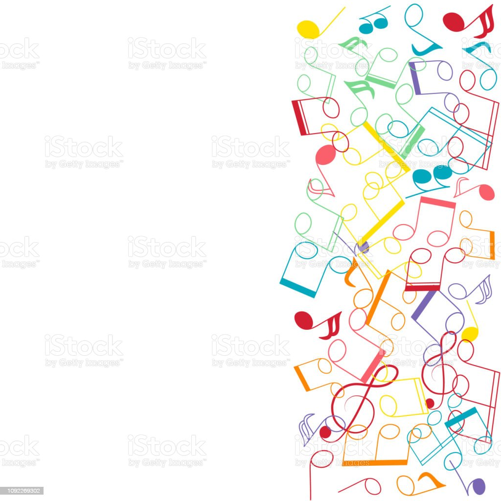Musical note and clef colorful border decoration music - Guitar border wallpaper ...