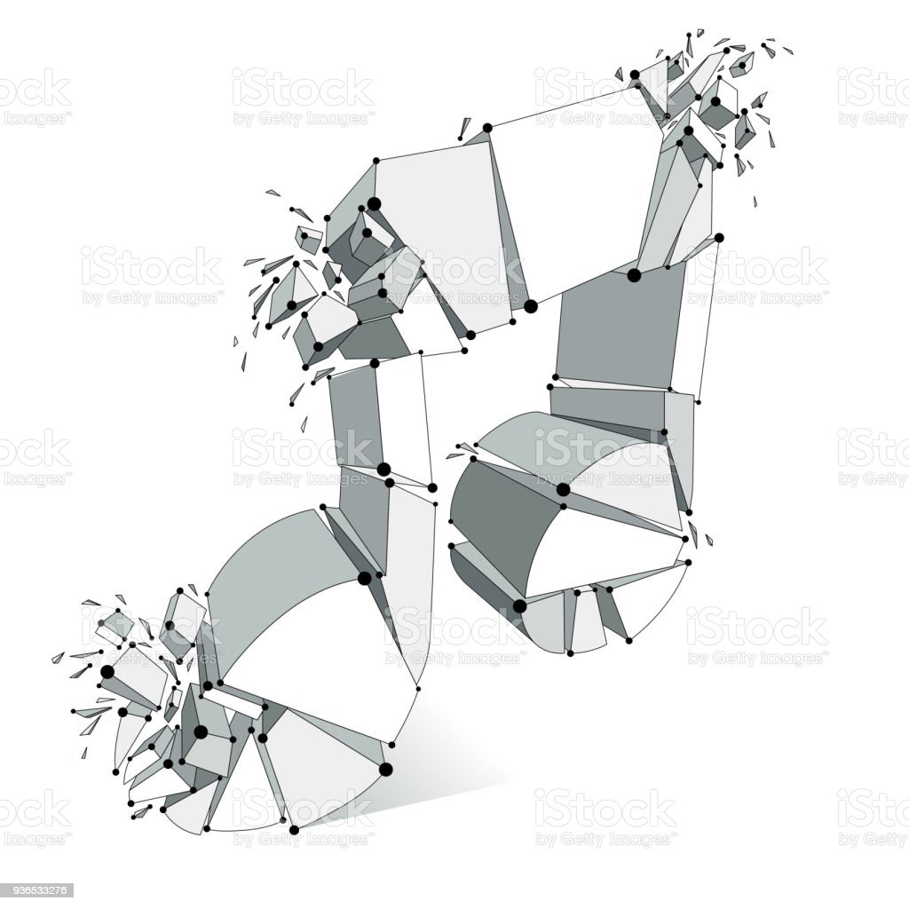 Musical Note Breaking To Pieces And Exploding Vector 3d Realistic