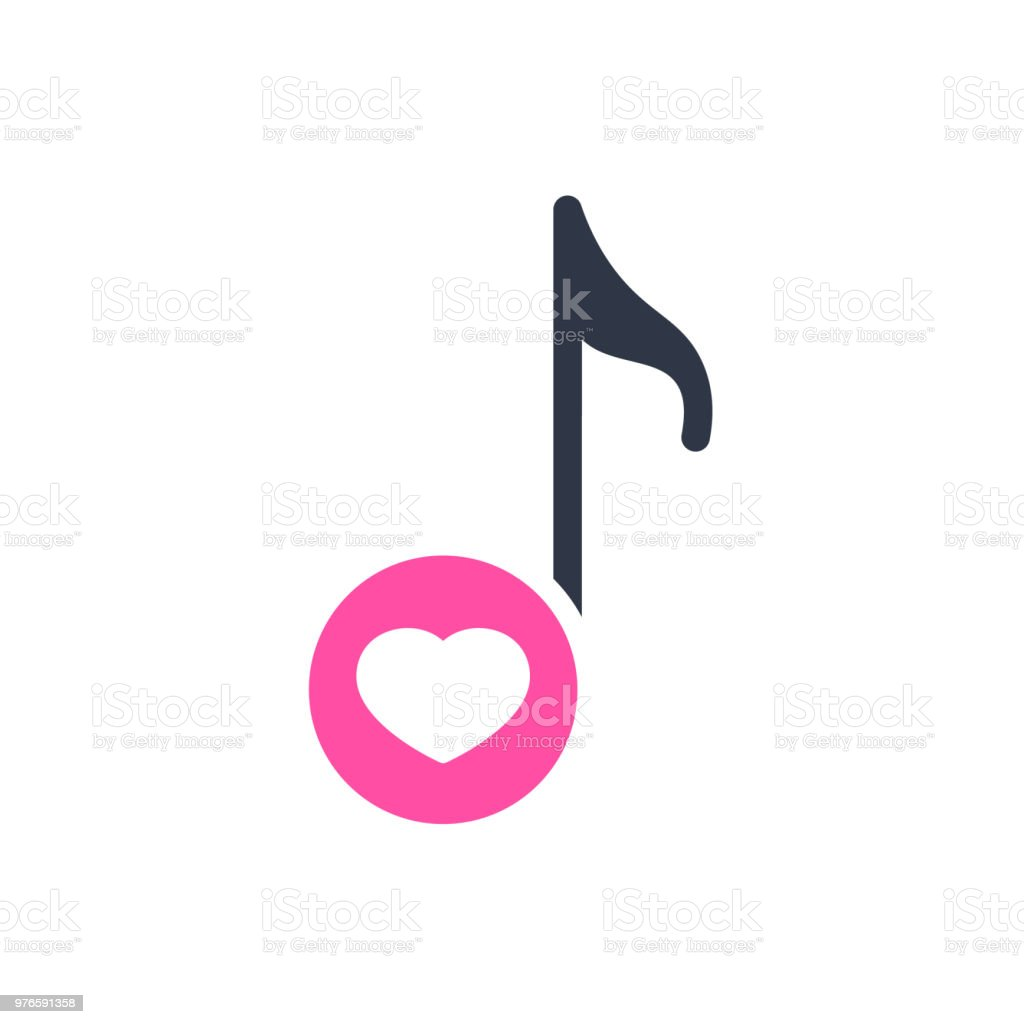 Musical Note Icon Music Icon With Heart Sign Musical Note Icon And