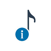 Musical note icon, music icon with information sign. Musical note icon and about, faq, help, hint symbol
