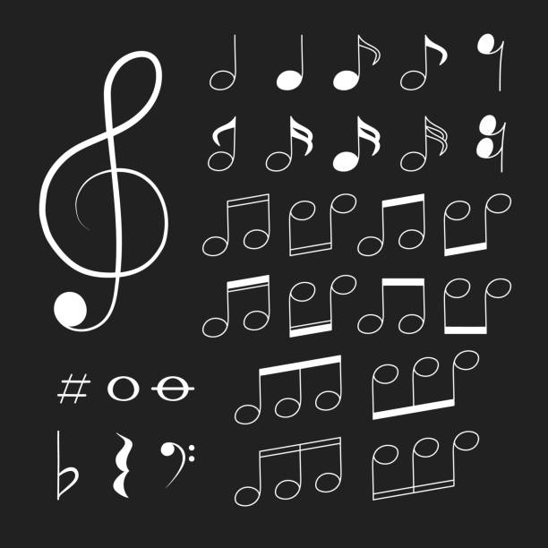 Musical note icon on black background. Notes and clef symbols. Vector isolated illustration.