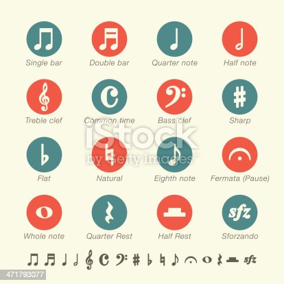 Musical Note Icons Color Series Vector EPS10 File.