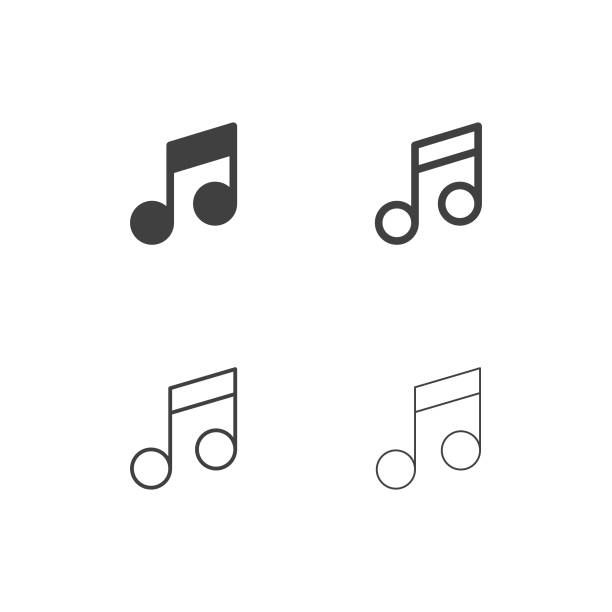 musical note icons - multi series - nuta stock illustrations
