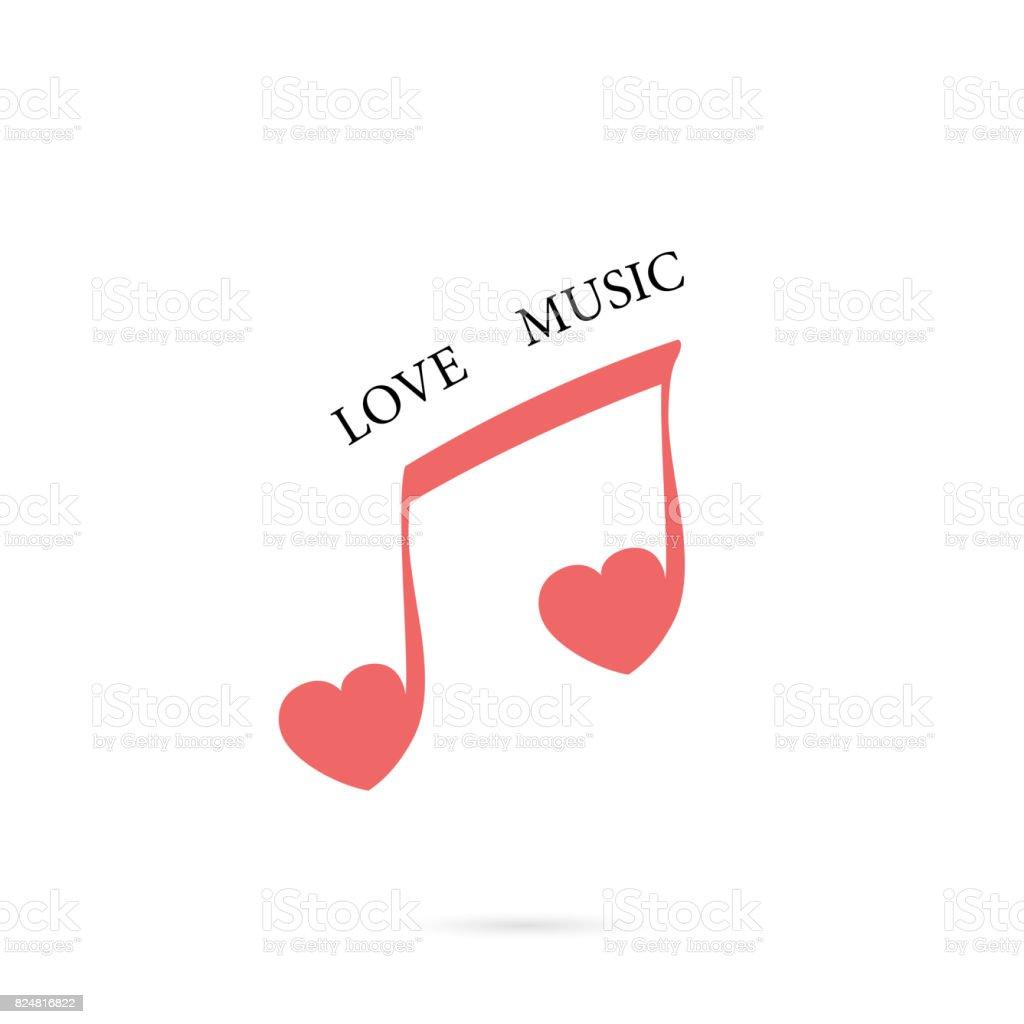 Ilustración de Nota Musical Firme Y Rojo Corazón Icono Vector ...