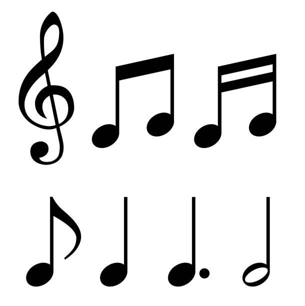illustrazioni stock, clip art, cartoni animati e icone di tendenza di musical note, sign material set - nota