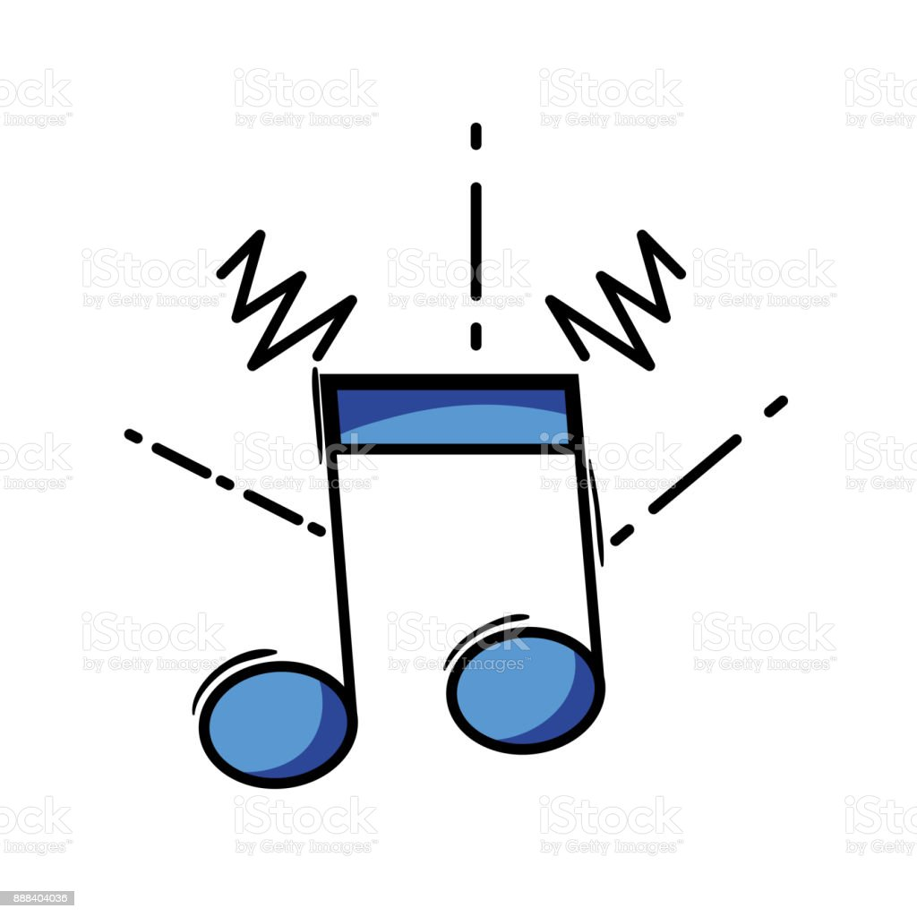 musical note sign to rhythm sound vector art illustration