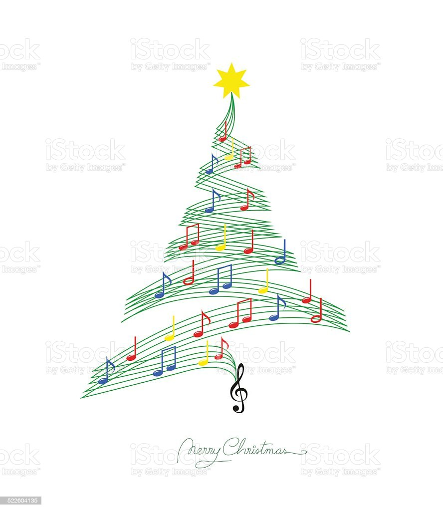 Musical note staff on Christmas fir vector art illustration
