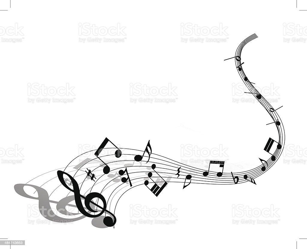 Musical note staff vector art illustration