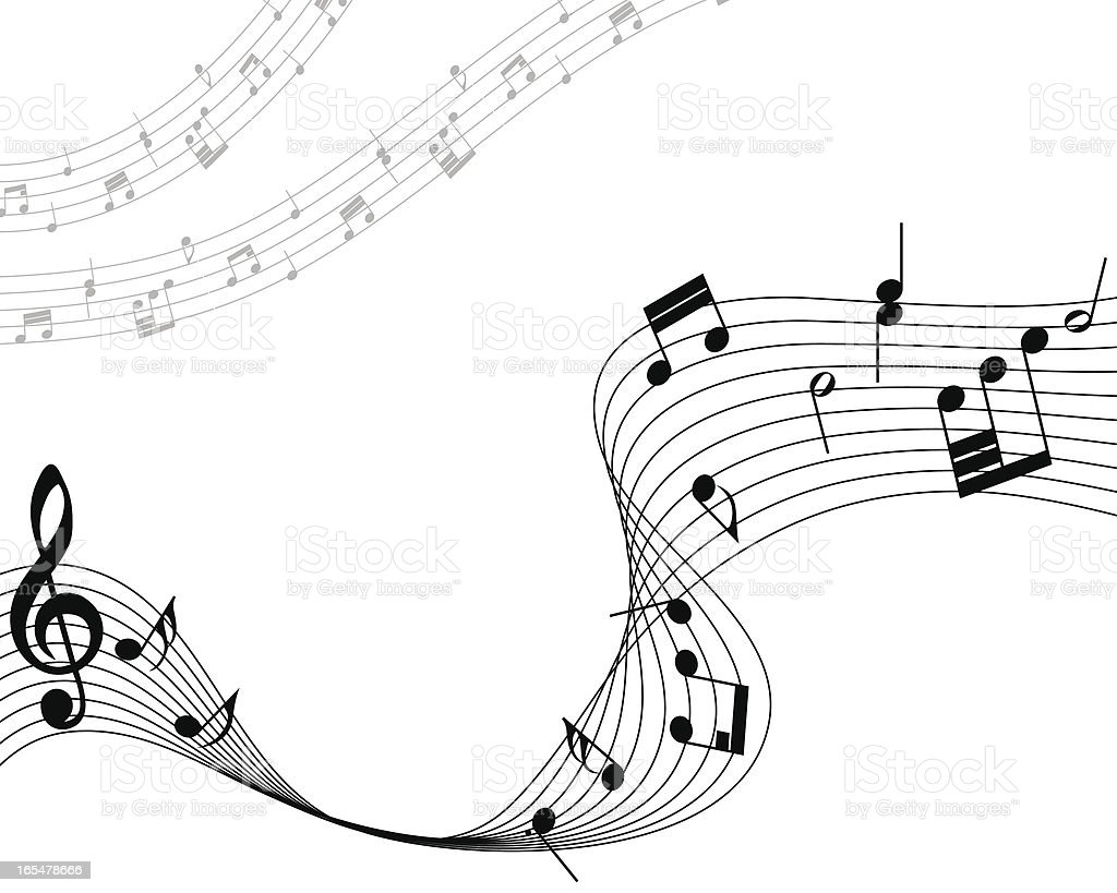 Musical note staff waving across the paper royalty-free stock vector art
