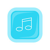 Musical Note Vector Icon In Flat Style Design