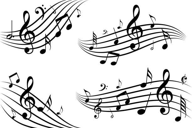 musical note waves - nuta stock illustrations