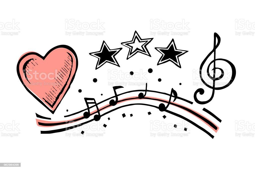 Ilustración De Notas Musicales Y Dibujo De Corazón Y Más Vectores
