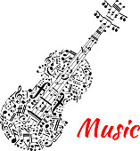 Musical notes and symbols shaped like a violin