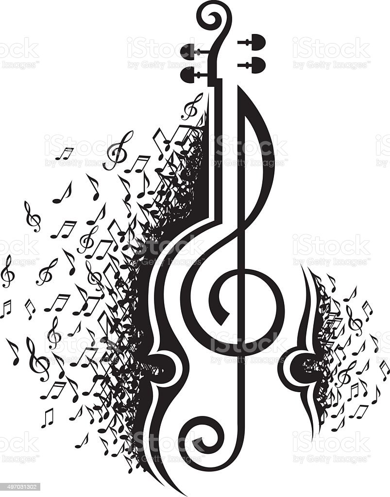 Line Drawing Violin : Musical notes and violin stock vector art more images of