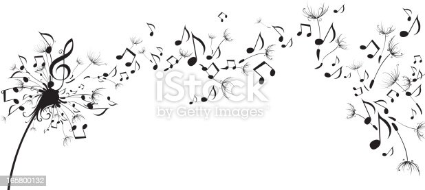 Musical Notes Floating As Dandelion Seeds stock vector art