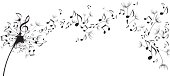 Musical notes floating as dandelion seeds