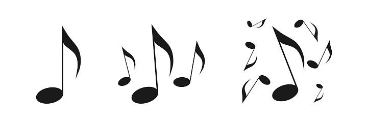 Musical notes icons set. Black icon on a white background. Illustration
